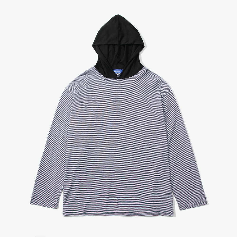 ESS STRIPE HOODED L/S TEE BLAC