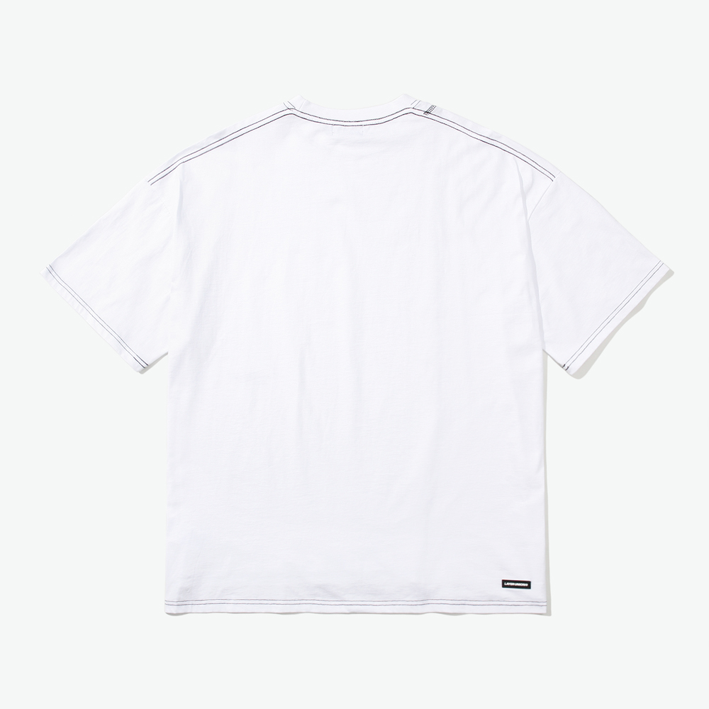 CUT CTRS ST OVER S/S TEE WHITE