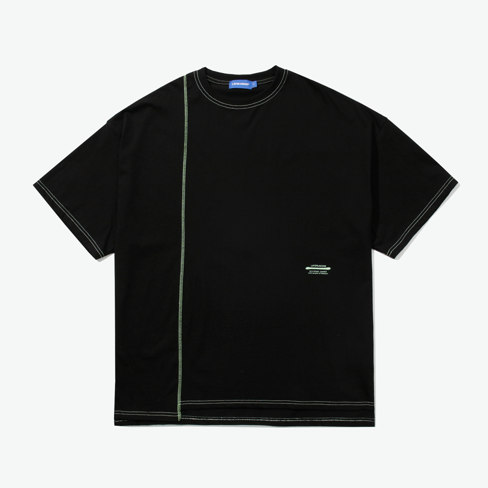 CUT CTRS ST OVER S/S TEE BLACK