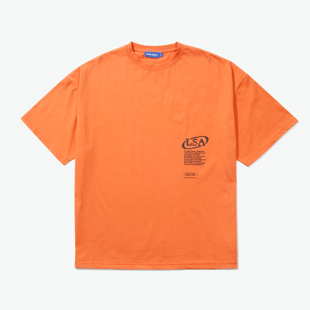 PIXEL LOGO OVER S/S TEE ORANGE