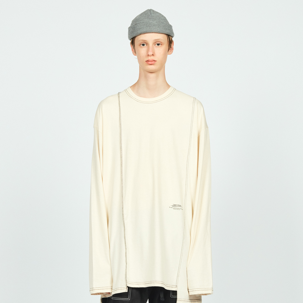 CUT CTRS ST OVER L/S TEE IVORY
