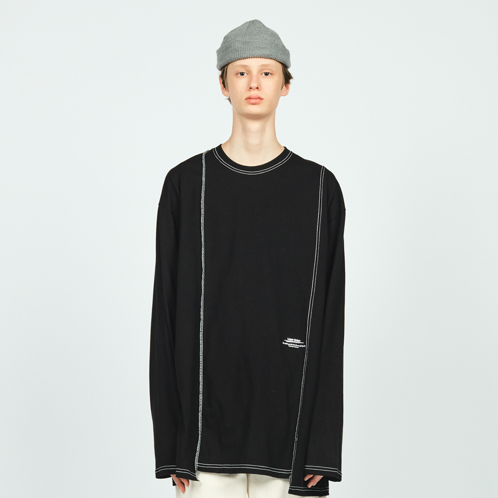 CUT CTRS ST OVER L/S TEE BLACK