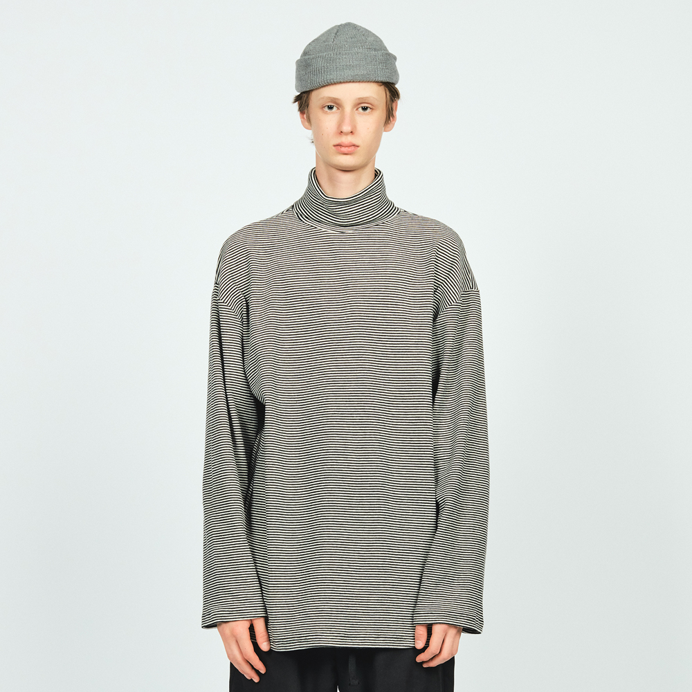 NW STRIPE TURTLE NECK L/S TEE