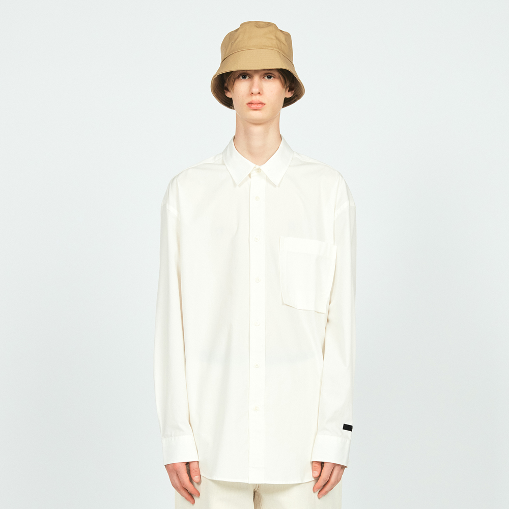 COTTON L/S POCKET SHIRTS WHITE