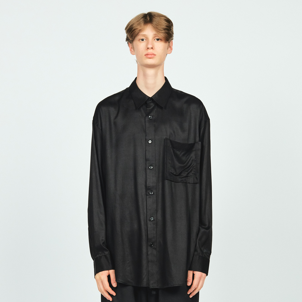 RAYON L/S POCKET SHIRTS BLACK