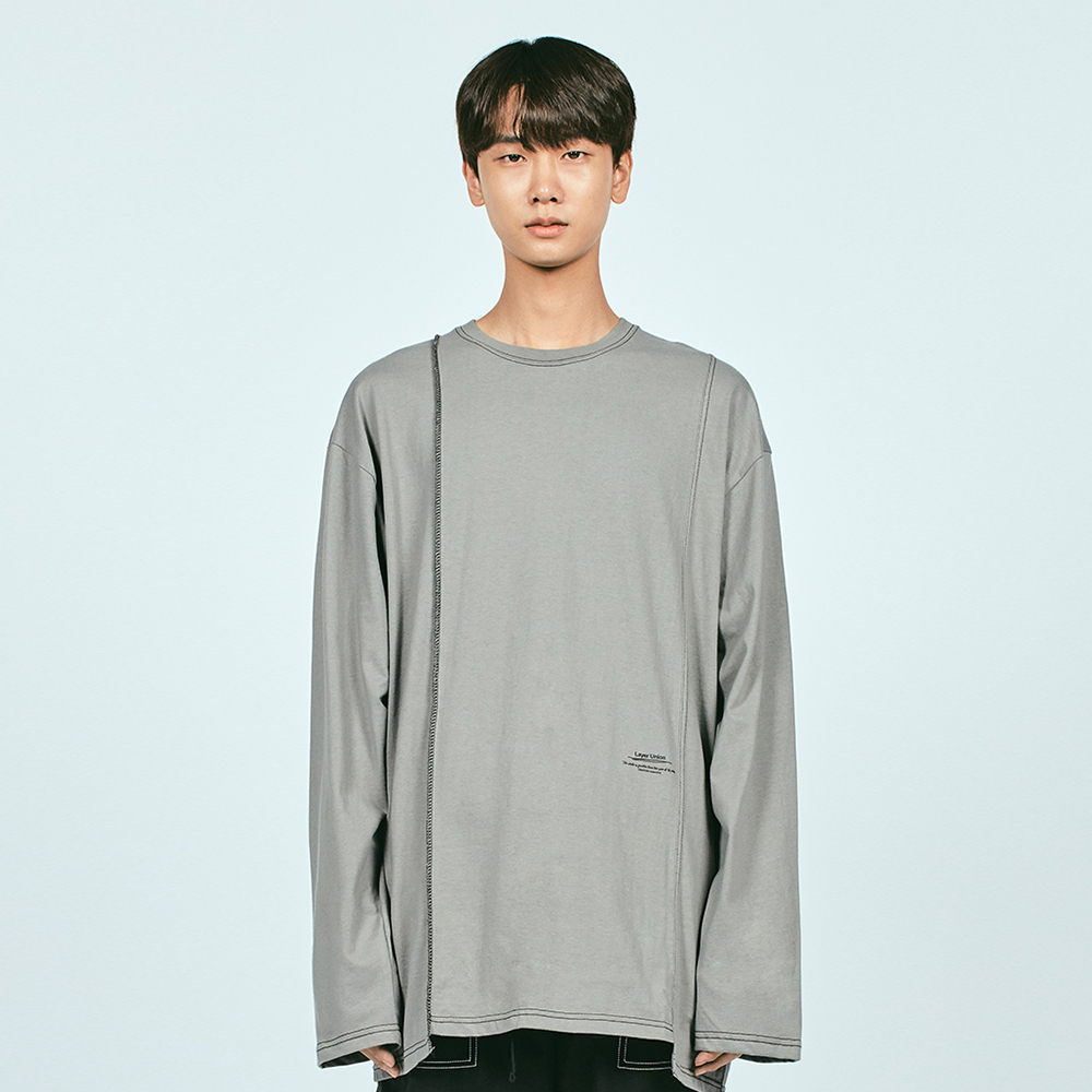 CUT CTRS ST OVER L/S TEE GREY