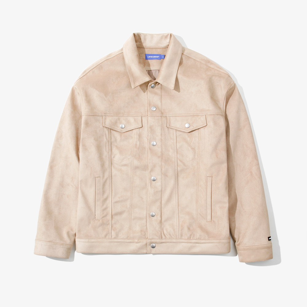 SNAP SUEDE TRUCKER JACKET BEIG