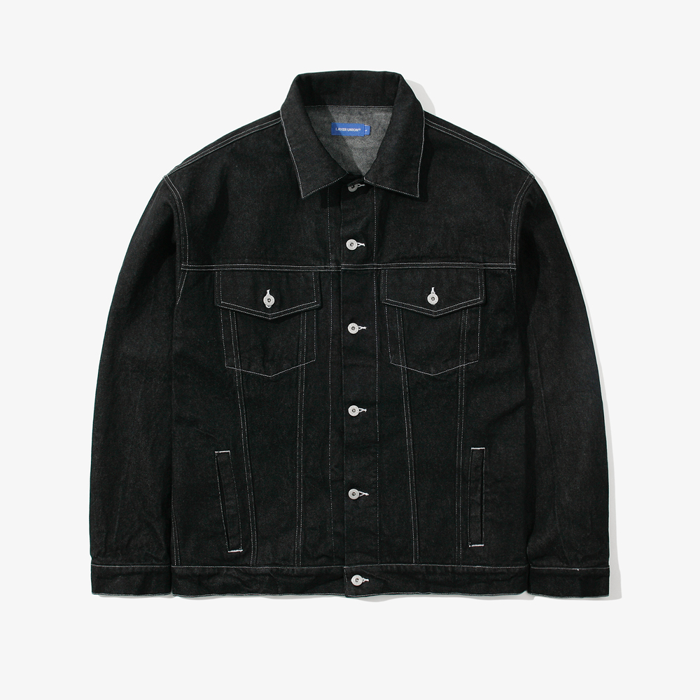 DENIM OVER TRUCKER JACKET BLAC