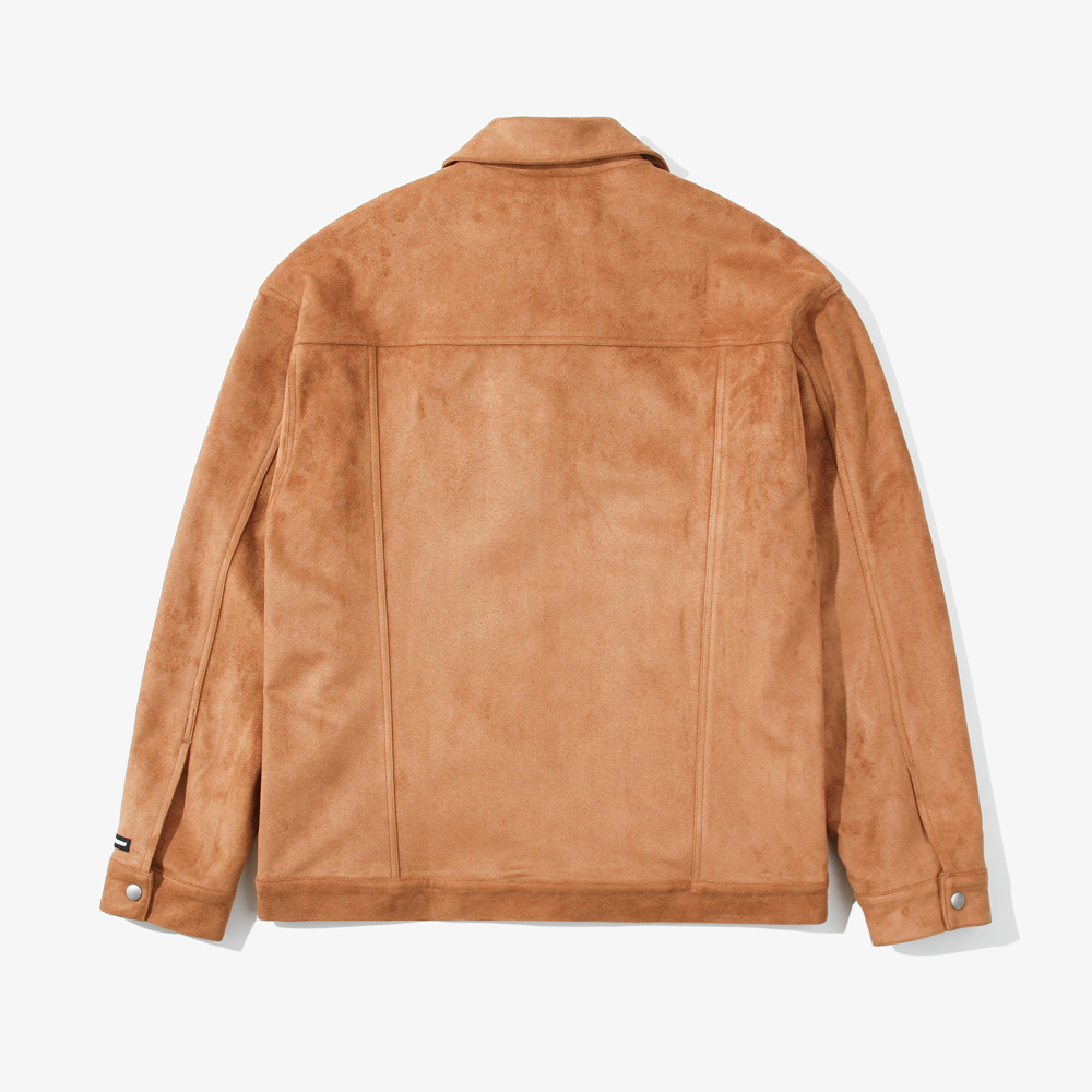 SNAP SUEDE TRUCKER JACKET BROW