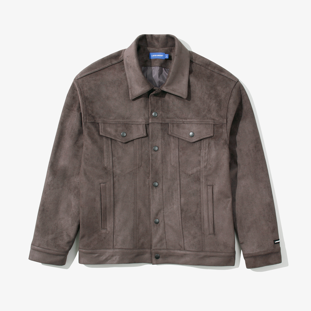 SNAP SUEDE TRUCKER JACKET CHAR