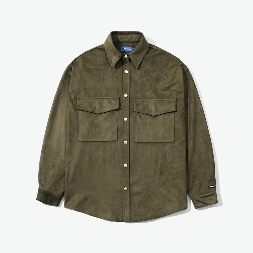SNAP SUEDE OVER SHIRTS KHAKI