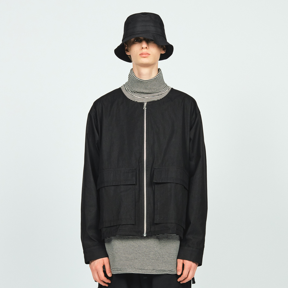NON COLLAR JACKET BLACK