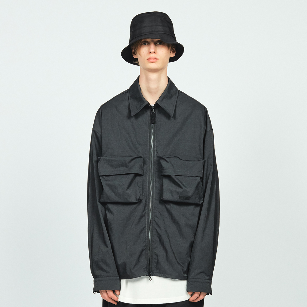 NYLON ZIP OVER SHIRTS CHARCOAL