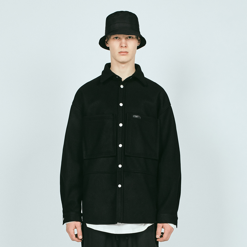 SNAP WOOL OVER SHIRTS BLACK