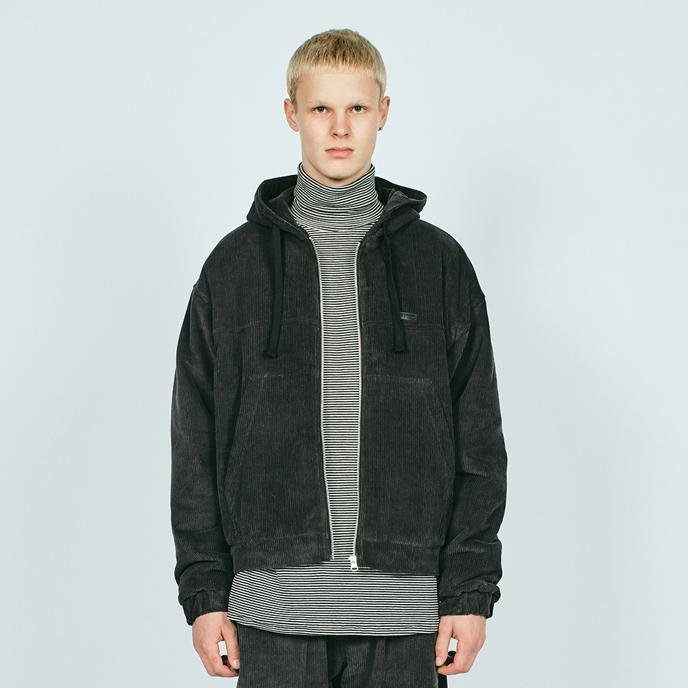 CORDUROY HOODED JACKET QL CHAR